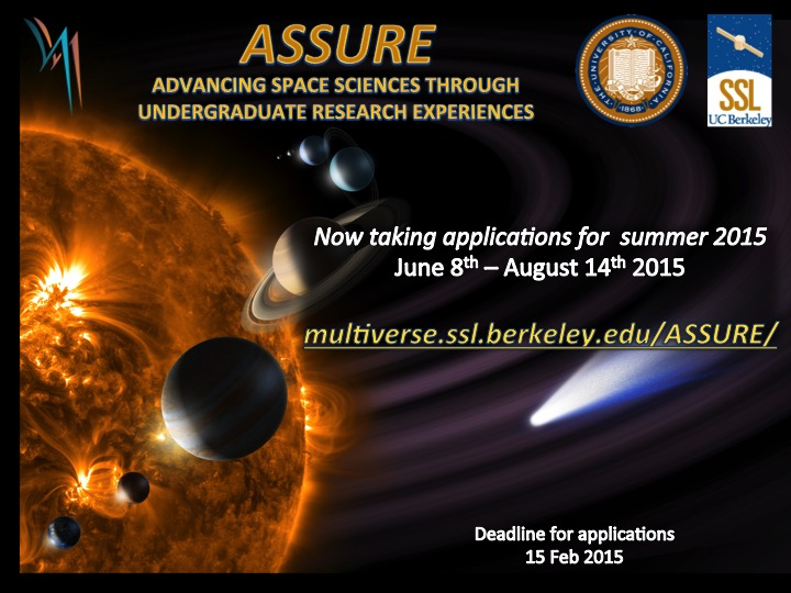ASSURE 2015 flier. Application is open at multiverse.ssl.berkeley.edu/ASSURE/   Deadline is February 15th, 2015