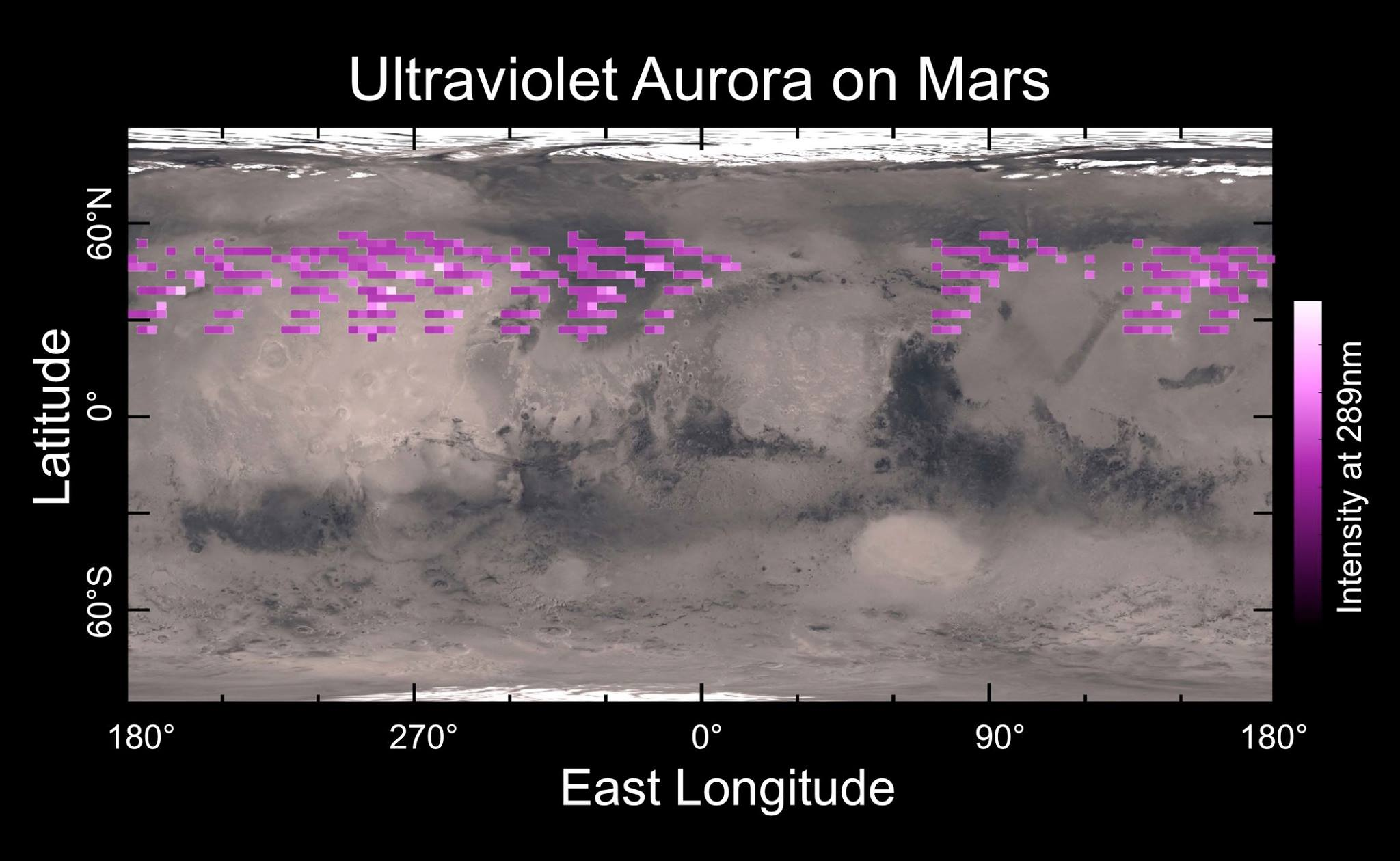 Shown here is a map of the MAVEN Imaging Ultraviolet Spectrograph's auroral detections in December 2014 overlaid on Mars' surface. The map shows that the aurora was widespread in the northern hemisphere, not tied to any geographic location. The aurora was detected in all observations during a 5-day period, though no data were taken in the southern hemisphere and some regions in the northern hemisphere were missed. (Courtesy CU/LASP)
