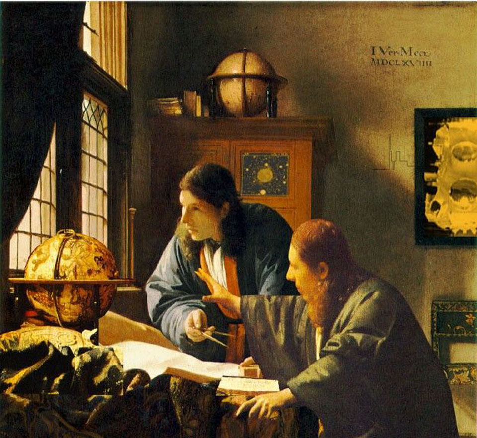 Image Credit & Copyright: Apologies to: Vermeer's Astronomer and Geographer; Image Pixelation: Rob Stevenson