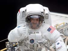 In this image from March 2002, John M. Grunsfeld is shown in space shuttle Columbia's cargo bay. Credits: NASA