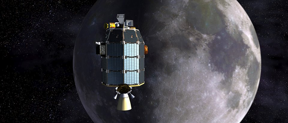 Artist's concept of NASA's Lunar Atmosphere and Dust Environment Explorer (LADEE) spacecraft in orbit above the moon. Credits: NASA Ames / Dana Berry