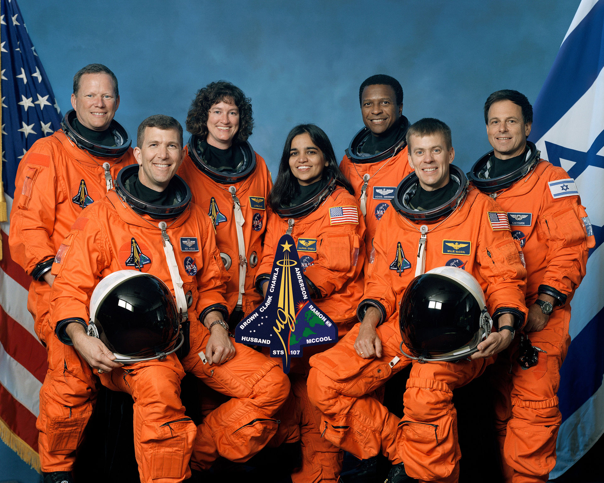 The crew of STS-107 in October 2001. From left to right: Brown, Husband, Clark, Chawla, Anderson, McCool, Ramon