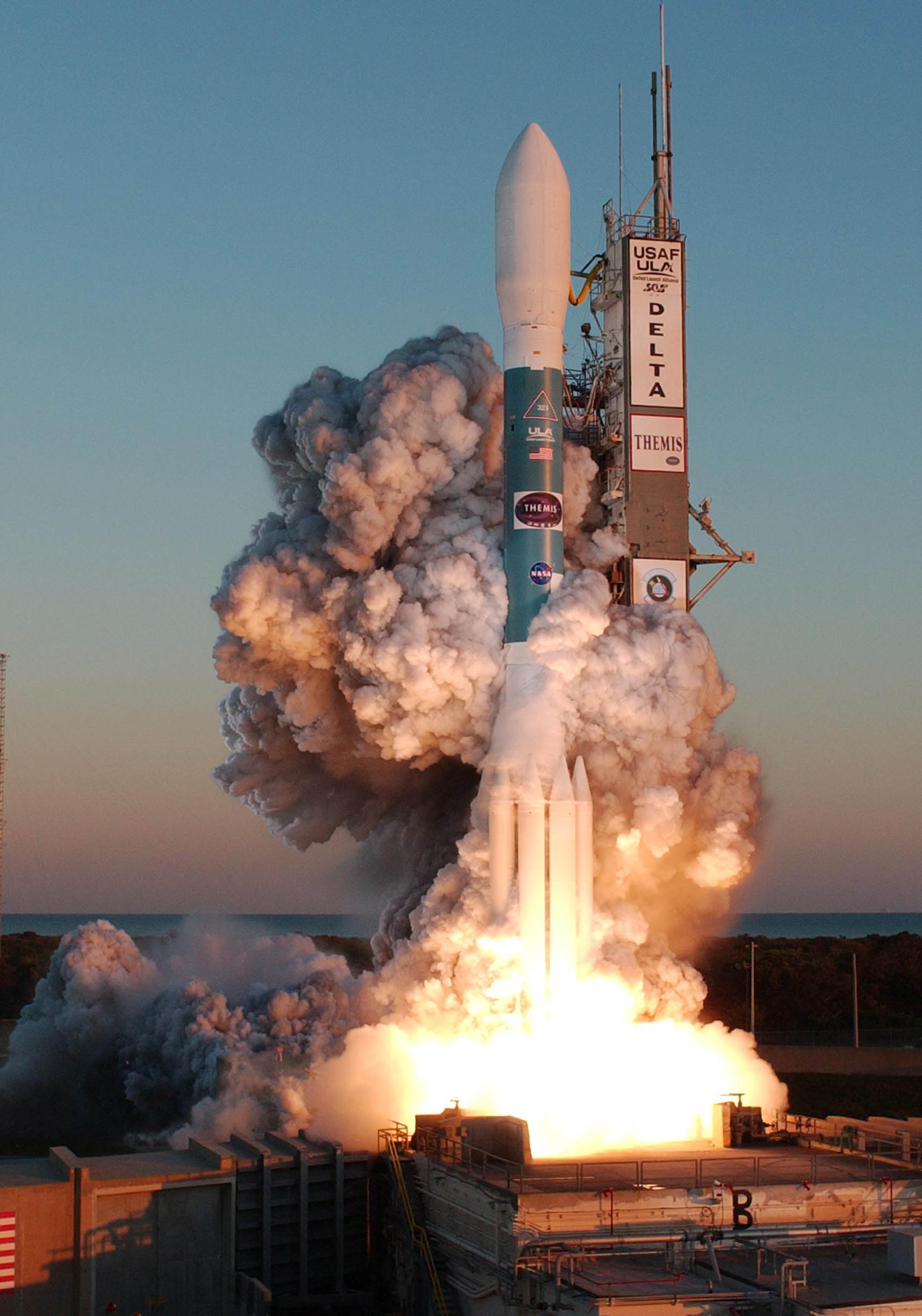 """The 45th Space Wing here supported the Feb. 17 launch of a Delta II booster carrying five National Aeronautics and Space Administration probes on a mission called """"THEMIS,"""" which will study auroral substorms, an avalanche of magnetic energy powered by the solar wind that intensifies the northern and southern lights. (Courtesy photo)"""