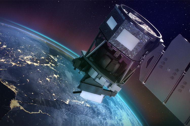 NASA's ICON mission, depicted in this artist's concept, will study the ionosphere from a height of about 350 miles to understand how the combined effects of terrestrial weather and space weather influence this ionized layer of particles. (NASA image)